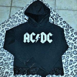 AC/DC LOGO HOODIE W/BLK LACE BOTTOM SML/JRS EUC